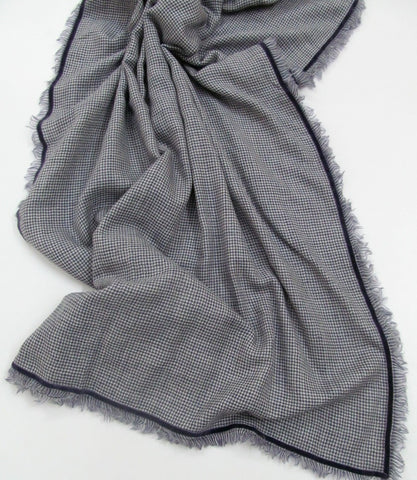Handwoven wool silk and cashmere blended scarf