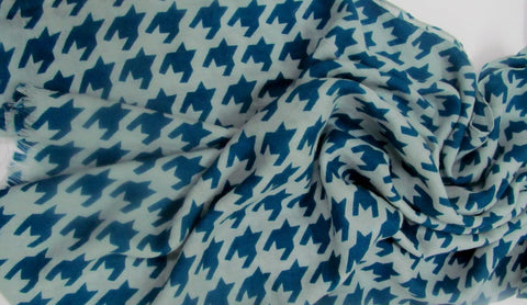 Handwoven printed wool silk blended scarf