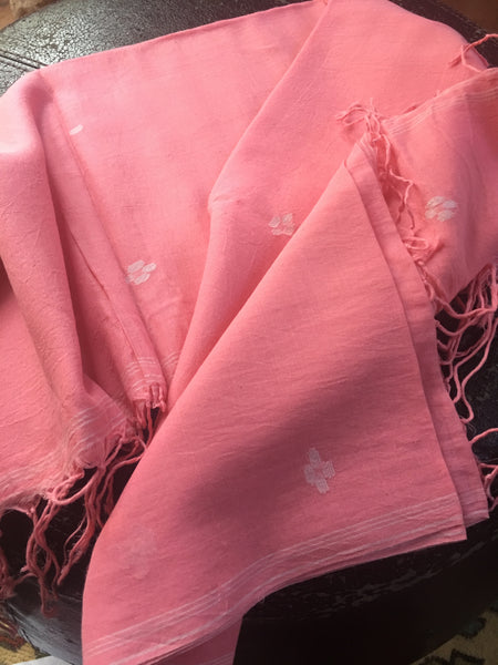 Cotton Jamdani - Pink with White motifs
