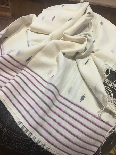 Cotton Jamdani - Off White with Pink and Black stripes and motifs