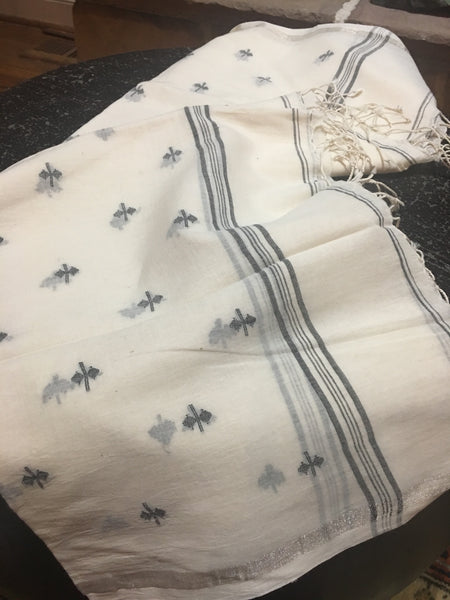 Cotton Jamdani - White with Black motifs and Zari border