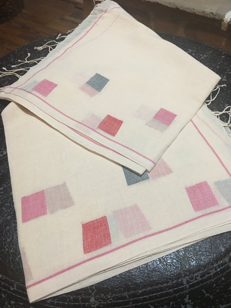 Cotton Jamdani - Peach with Multicolored Square motifs