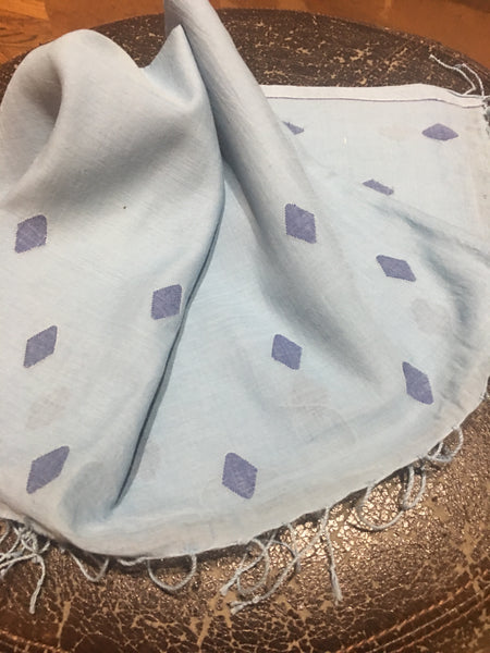 Cotton Jamdani - Blue with Diamond motifs