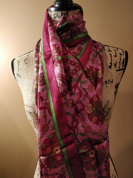 100% pure printed Kashmiri silk scarf - Rectangular
