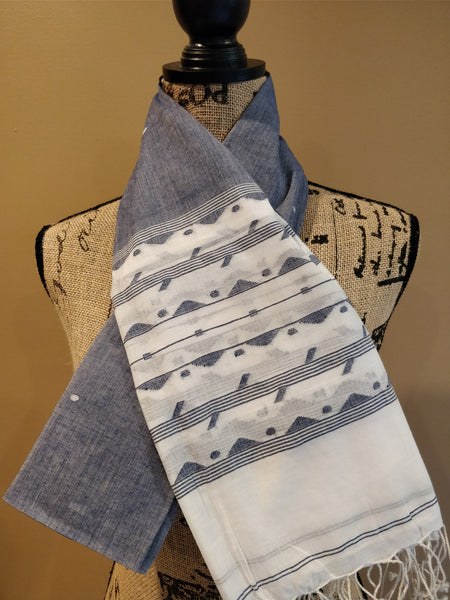 GEOMETRIC LINES AND TRIANGLE BOTH ENDS JAAMDANI GREY