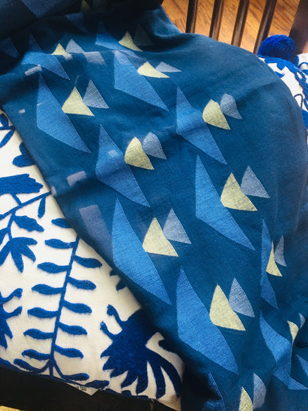 Cotton Jamdani - Blue with motifs