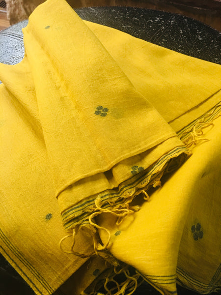 Cotton Jamdani - Mustard with Black motifs