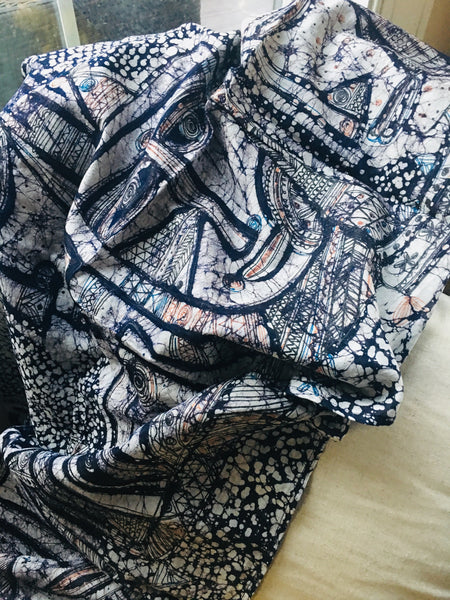 Cotton Silk Handpainted Batik - Blue