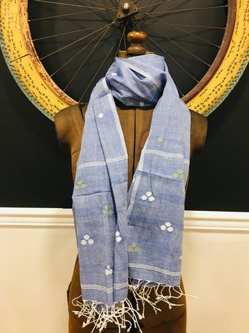 Cotton Jamdani - Blue  with multi colored dots