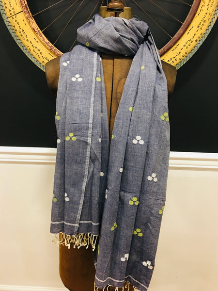 Cotton Jamdani - Grey with multicolored motifs
