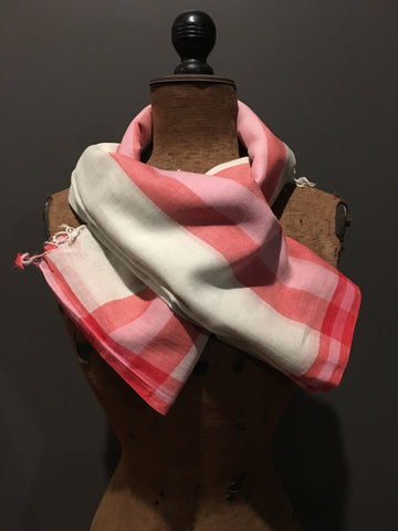 Soft handwoven cotton scarf with red border