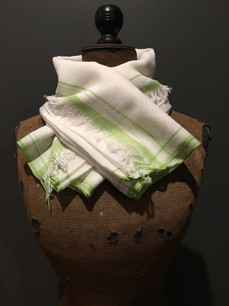 Soft handwoven cotton scarf with green border