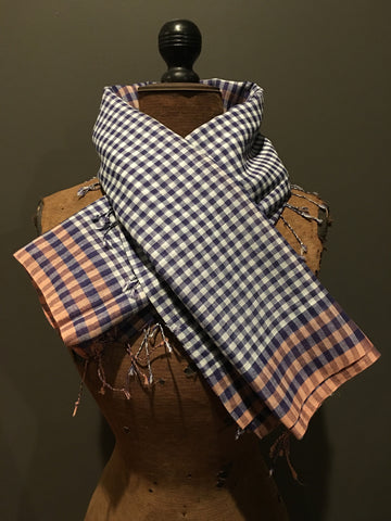 Handwoven checkered blue and orange scarf