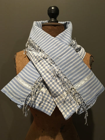 Handwoven checkered and striped blue and silver scarf