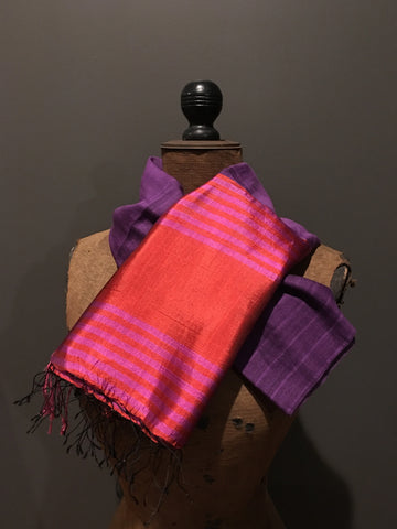 Purple and pink scarf in handwoven silk and khadi cotton