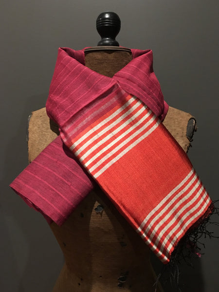 Pink and orange scarf in handwoven silk and khadi cotton