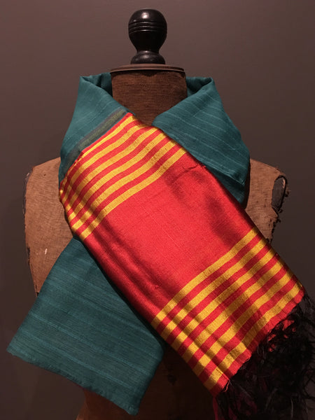 Teal and orange scarf in handwoven silk and khadi cotton