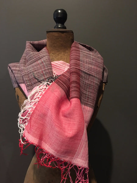 Pink handwoven cotton scarf