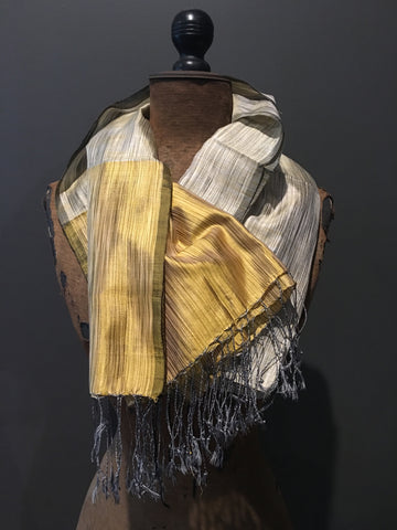 Yellow and grey handwoven silk scarf
