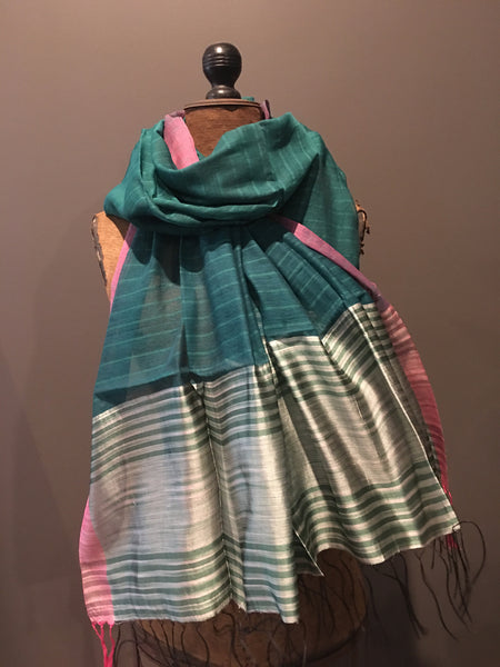 Green and silver scarf in handwoven silk and khadi cotton