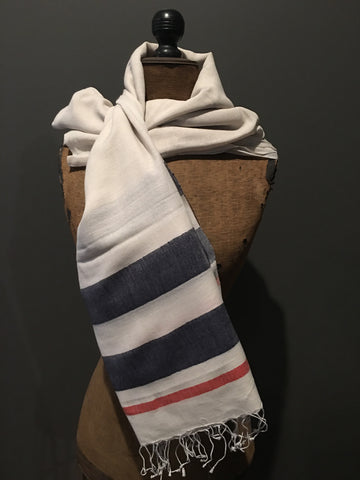 White handwoven cotton scarf with stripes