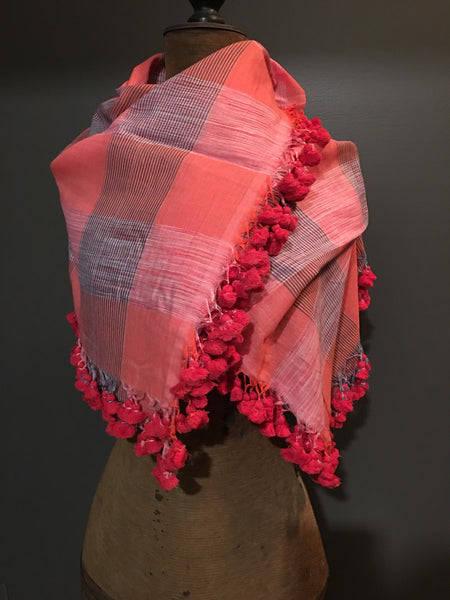 Cotton handwoven orange scarf with tussels