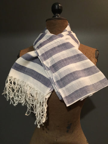 Handwoven cotton scarf with grey stripes