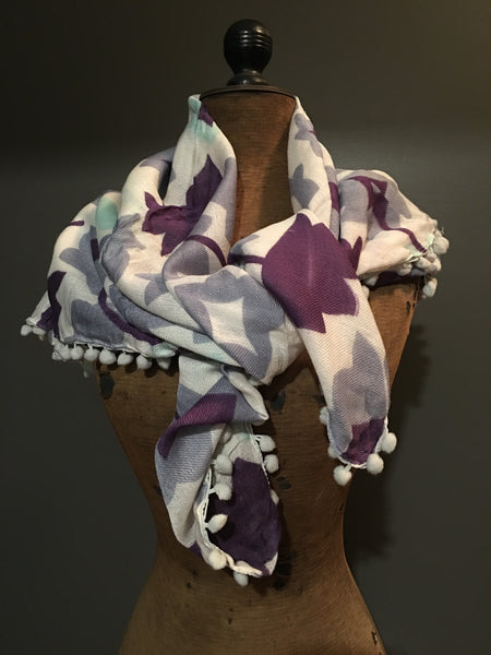 Handwoven purple and grey flower patterned scarf