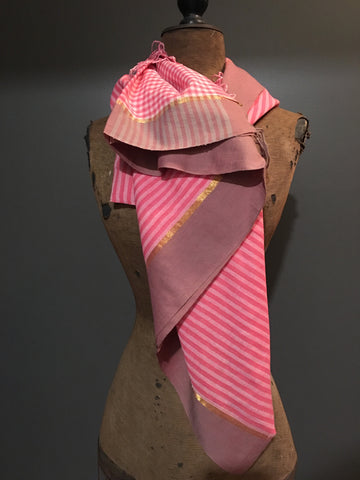Handwoven pink striped scarf