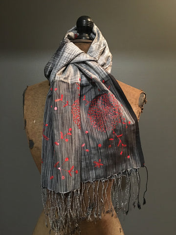 Handpainted grey scarf