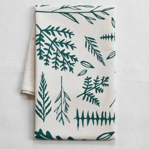 Woodland Ferns Tea Towel (Green)