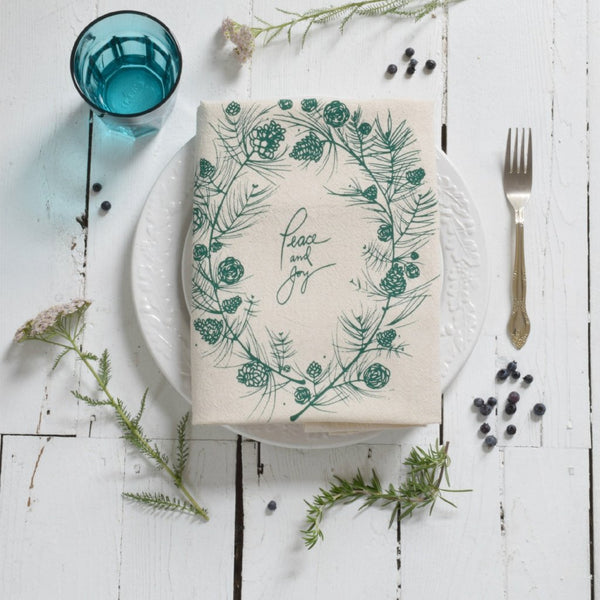 Holiday Tea Towel, Peace and Joy (Green) - Blume Market