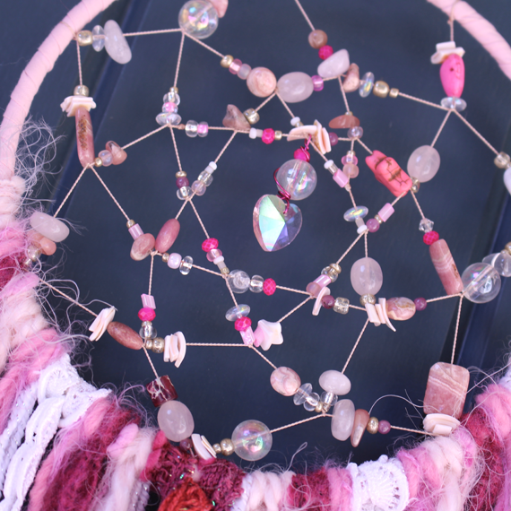 "Small 6"" Handmade Dreamcatcher-Pink or Blue"