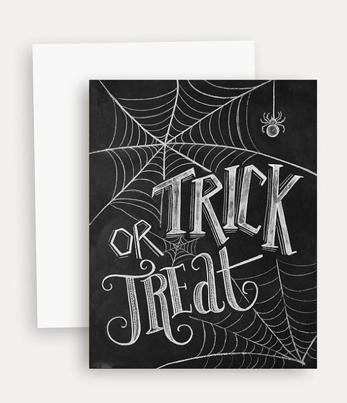 Trick or Treat Chalk Print Single Greeting Card