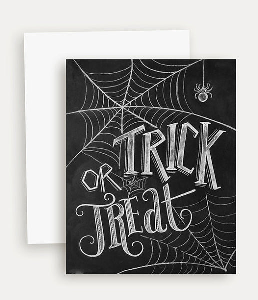 Trick or Treat Chalk Print Single Greeting Card - Blume Market