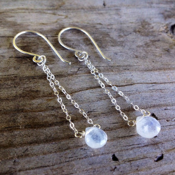 Moonstone Recycled Metal Drop Earrings