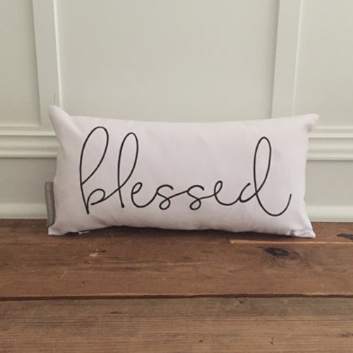 Blessed Pillow Cover White Canvas