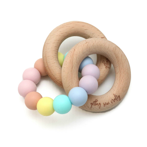 Teether - Silicone + Wood [Rainbow] - Blume Market