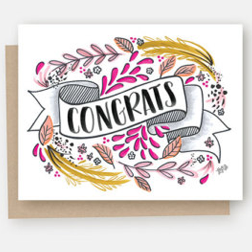 """Congrats"" Hand Lettered Single Greeting Card"