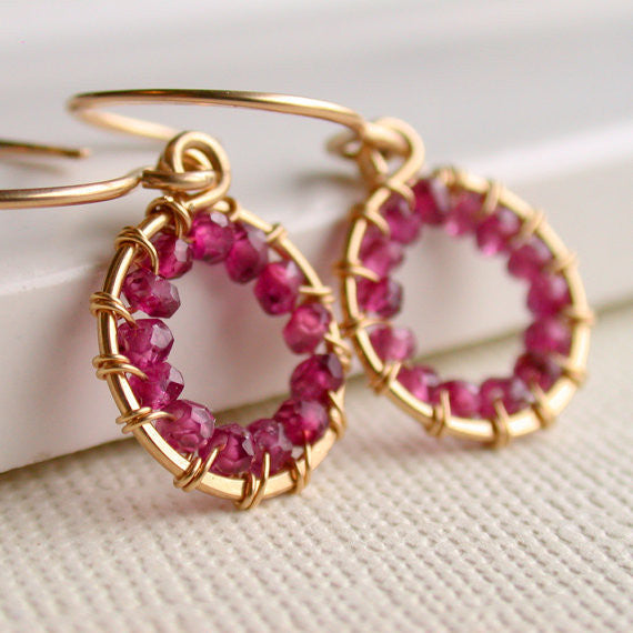 Petite Wire Wrapped Garnet Hoop Earrings