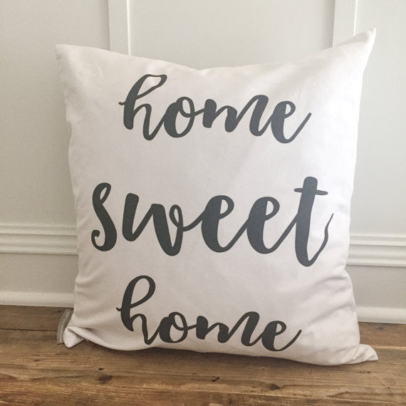 Home Sweet Home Pillow Cover Natural Linen