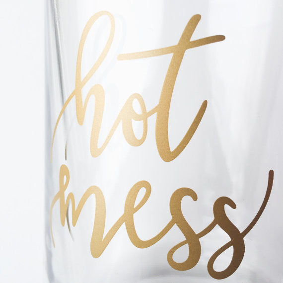 Hot Mess Metallic Gold Lettered 18oz. Mug