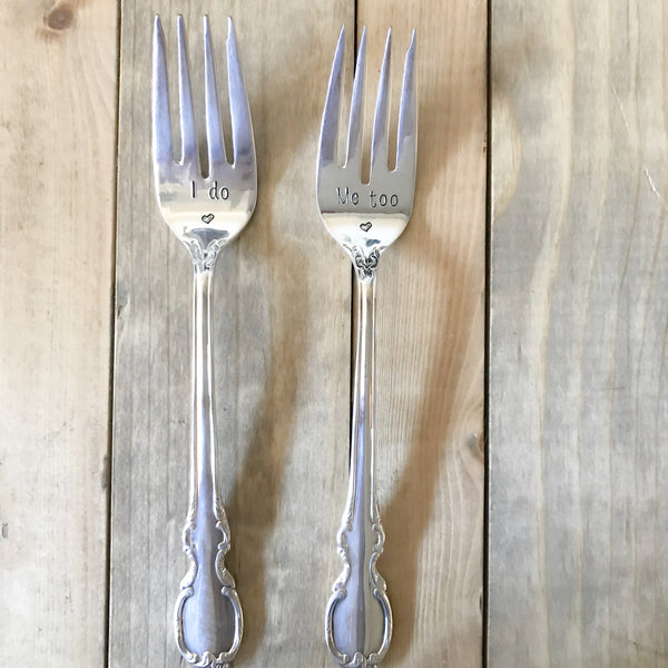 """I DO and ME TOO"" Set of Upcycled Vintage Forks - Blume Market"
