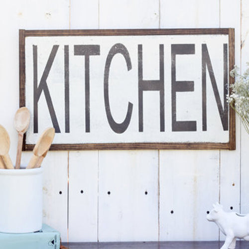 """Kitchen"" Reclaimed Distressed Wood Sign"