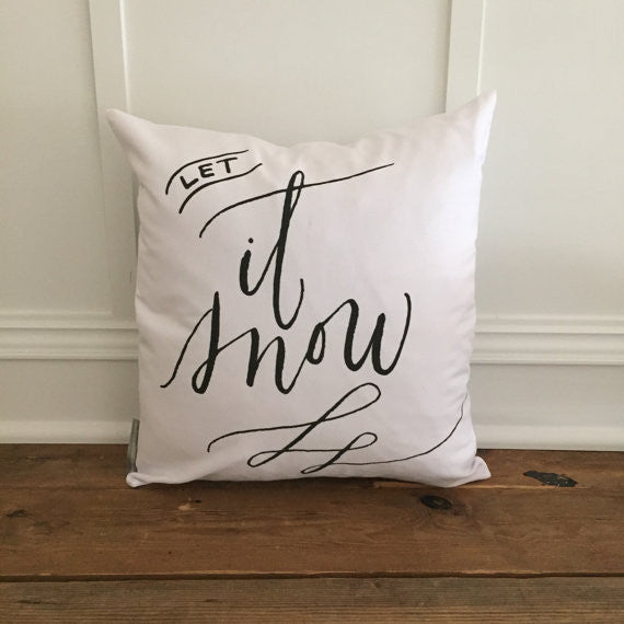 Let it Snow Pillow Cover White Canvas