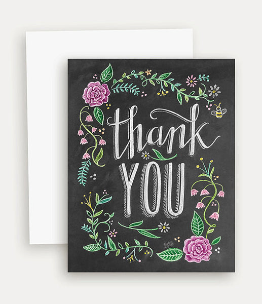 """Thank You"" Chalk Print Greeting Card"