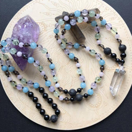 "Magic Lava Dreams 46"" Double Wrap Gemstone Necklace"