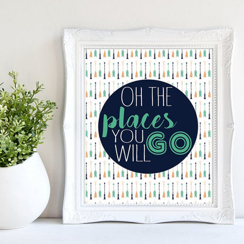 """Oh The Places You WIll Go"" Unframed Art Print"