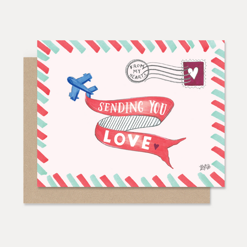 """Sending You Love"" Hand Lettered Airplane Note Card"