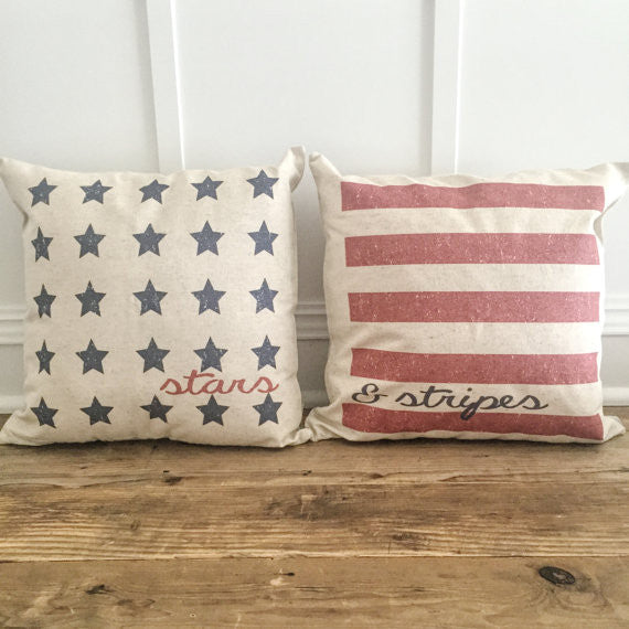 Stars & Stripes Pillow Cover Set Natural Linen
